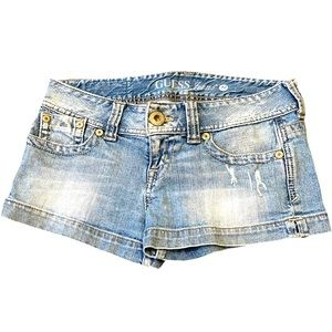 Light Wash Guess Distressed stretch jean shorts